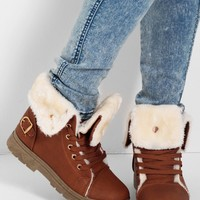 Utah Tan Roll Fur Lined Top Boots   Pink Boutique