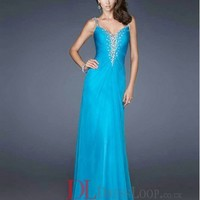 2014 New Styles A-Line Spaghetti Straps Chiffon Blue Long Prom Dress/Evening Gowns With Rhinestone VTC598