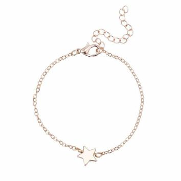 Five-pointed star Star Pendant Charm Chain Bracelet Couple Bracelets Jewelry Friendship Gifts to Friends Lover
