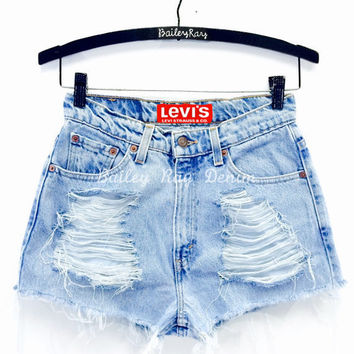 Levi High Waisted Denim Shorts Cut Offs - Cheeky Light Wash - Sizes 0-20 US Womens