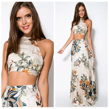 Summer Print Spaghetti Strap Skirt Set Prom Dress [4920224900]