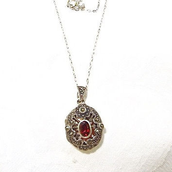 "Garnet Locket Necklace Sterling Silver Fiigree Marcasite Pill Holder Vintage 17"" Chain 1960s Jewelry"