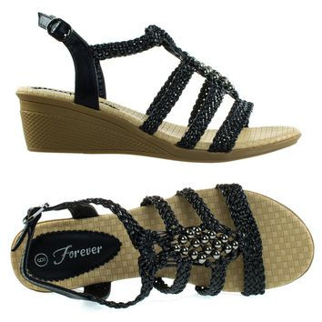 Paramount08 Black By Forever Link, Espadrille Woven Open Toe Wedge Sandal w Beaded Gladiator Cage Strap