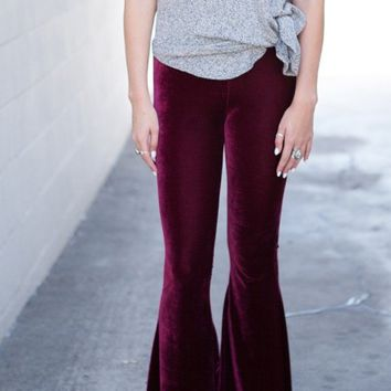 Lucky Duck Burgundy Velvet Bell Bottom Lounge Pants
