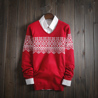 Mens V Neck Comfortable Fair Isle Sweater