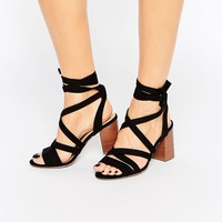 New Look Wide Fit Tie Up Block Heel