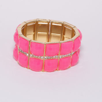 Fuchsia Stone Bracelet with Diamonds