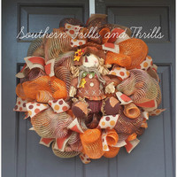 Fall Deco Mesh Wreath, Autum Deco Mesh Wreath, Thanksgiving Wreath, Jute Wreath, Fall Wreath, Mesh Wreath, Autumn Wreath, Fall Door Hanger