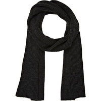 River Island MensDark grey ribbed knit scarf