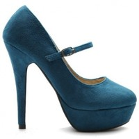 Ollio Women's Shoe Platform Fuax Suede Mary Jane High Heel Multi Color Pump (10, Turquoise)
