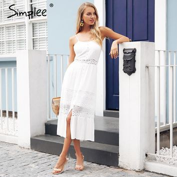 Simplee Strap hollow out white lace dress women Sexy backless bow summer dress long Streetwear button casual dress vestidos 2018