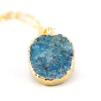 Dirty Blue Druzy Necklace - Natural Druzy Quartz Crystal - Raw Druzy Necklace OOAK - Bridesmaids Gift Idea - SDN22