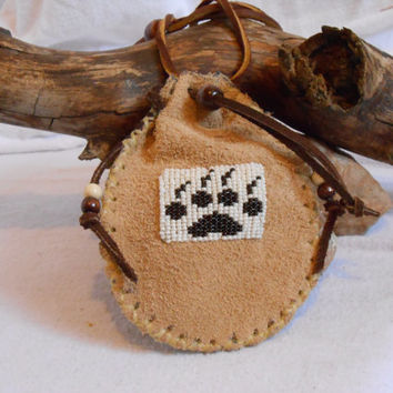 Custom Order Medicine Bag, Hand Beaded Wolf Paw Design, Hand Sewn by Oglala Lakota Artist, Native American, Mountain Man, Powwow, Rendezvous
