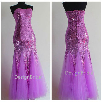 2014 Sexy Mermaid Style Gown,Crystal Sequin Evening Gown,Lavender Prom Gowns,Masquerade Ball Gowns,Sparkly Bridesmaid Dresses,Purple Dress