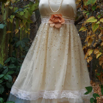 Tulle party dress sequins lace cream  rose baby doll  wedding bridesmaid vintage   romantic medium by vintage opulence on Etsy