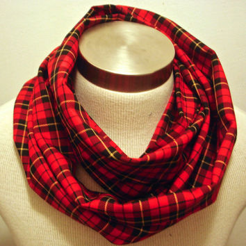 Lumberjack trends red plaid infinity scarf. Christmas gift idea. Hand Made in Eugene Oregon.