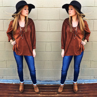 Suede + Lace Up Duo Top