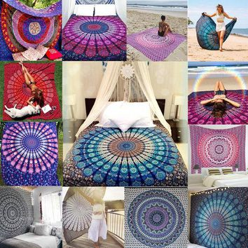 DCCKJG2 Hot Indian Mandala Tapestry Hippie Wall Hanging Boho Printed Bedspread Ethnic Beach Throw Towel Yoga Mat Home Decor 210*148cm