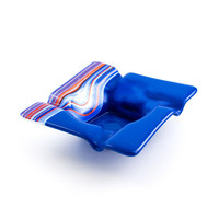 Glass Ashtray, Red White and Blue, Cigar Ash Tray, Patriotic Decor, Smoking Accessories, Ash Catcher, Cigarette Tray, Cool Gifts for Guys