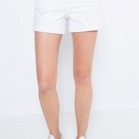White Distressed Cuff Boyfriend Shorts