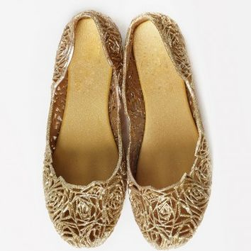 Bamboo Topic-01 Metallic Glitter Jelly Flats | MakeMeChic.com