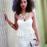 Crochet Bustier Peplum Dress