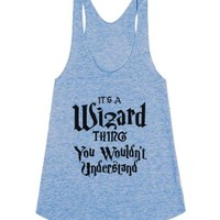 A Wizard Thing-Female Athletic Blue Tank