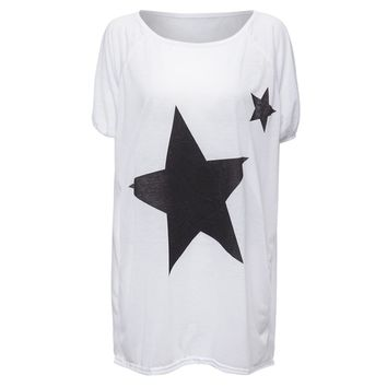 Sweet Scoop Neck Star Print Batwing Sleeve Women's T-Shirt