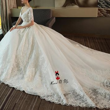 Elegant Long Train Church Wedding Dresses 2018 Lace Bride Dress Short Sleeve Ball Gown Princess Wedding Gowns Vestido de Renda