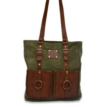 Eleanor Suede Tote in Olive