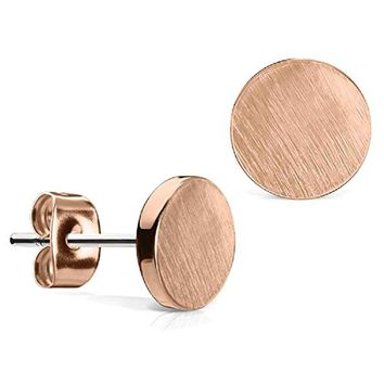 BodyJ4You Round Earrings Studs Brushed Finish 7mm Stainless Steel Post Ear Stud Women Rose Goldtone