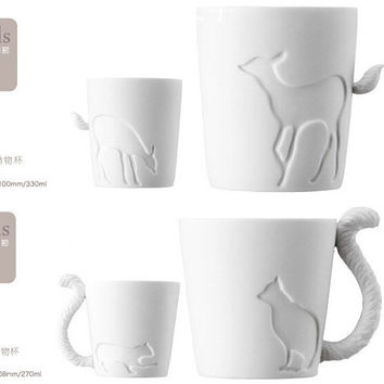ZAKKA Ceramic mug cup white cat/rabbit/squirrel/fawn animal milk cup Lovers Mug Cute Birthday Gift,Christmas Gift