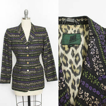 Vintage JEAN PAUL GAULTIER Junior Jacket - 1980s - 90s Blazer Printed Brocade - Small