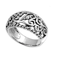 925 Sterling Silver Filigree 11MM Ring