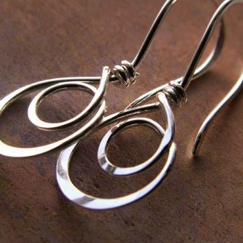 Double Hoop Tear Drops, Sterling Silver