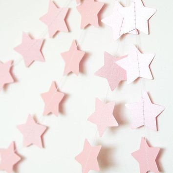 Paper Garland Star Garland Wedding Garland Holidays Decor Christmas Garland Holidays Garland New Year Christmas Decor For Home Pink