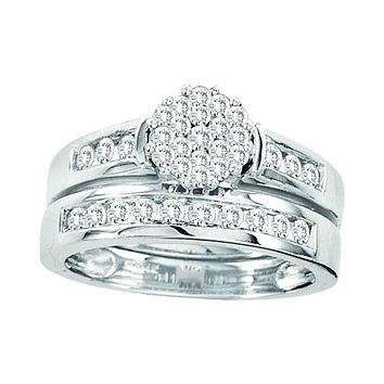 14kt White Gold Womens Round Diamond Flower Cluster Bridal Wedding Engagement Ring Band Set 3/4 Cttw - FREE Shipping (US/CAN)