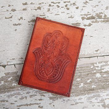 Refillable Hamsa Handmade Leather Journal