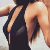 Fashion Sexy halter chest hollow backless jumpsuit