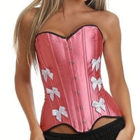 Pink satin with Polka Bot Bow Tie Corset