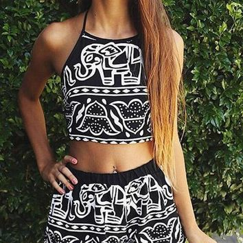 Day-First™ Cute Black Elephant Halter Crop Top with High Waist Shorts
