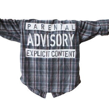 Parental Advisory Explicit Content | Vintage Flannel Unisex Shirt (Colors may vary, All Sizes Available!)