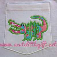Monogrammed Pocket T shirt with Lilly Pulitzer Fabric alligator