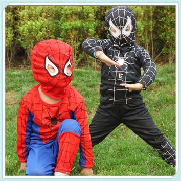 New Spiderman Cosplay Costumes Suit Spider Man Children Kids Boy Performance Clothing Sets 3 Size Halloween C144