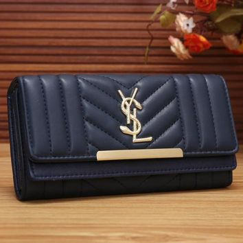YSL Yves Saint Laurent Women Fashion Shopping Leather Buckle Wallet Purse-2