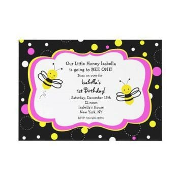 Bumble Bee Birthday Party Invitations pink from Zazzle.com