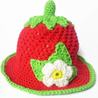 Baby strawberry hat with flower (newborn-24 month) - Creative Crochet Shop