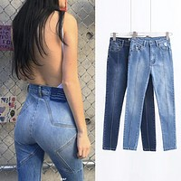 Women Fashion Five-pointed Star High Waist Jeans Pencil Pants Trousers
