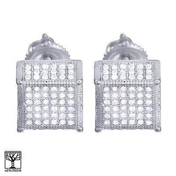 Jewelry Kay style Men's Iced Out Brass Silver Plated Square 3D Block Screw Back Earrings BE 037 S