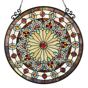 Chloe Tiffany-style Victorian Design Stained Glass Window Panel